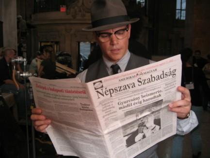 Matt Damon 2006 őszén a Good Shepherd című film New York-i forgatásán az Amerikai Magyar Népszava Szabadsággal. Fotó: Técsi Sándor