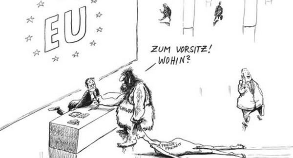Orbánt ősembernek ábrázolják Európában