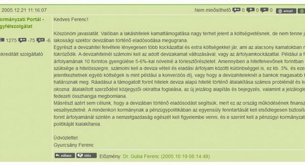 Egy Gyurcsány-levél 2005-ből a devizahitelezésről